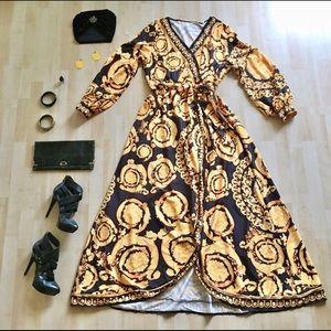 Lantern sleeve black yellow pattern maxi dress 3X
